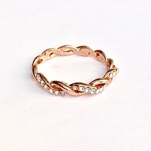 ❤️ 🆕 Rope Rep Cable 9 Ring Rose Gold Tone Twist
